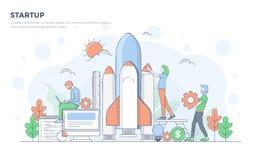 Flat Line Modern Concept Illustration - Startup Royalty Free Stock Images