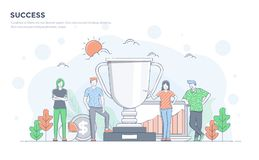 Flat Line Modern Concept Illustration - Success Stock Photography