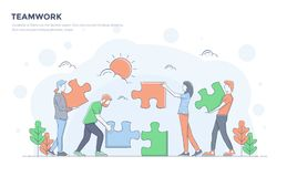 Flat Line Modern Concept Illustration - Teamwork Royalty Free Stock Image