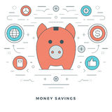 Flat line Money Savings Concept Vector illustration. Modern thin linear stroke vector icons. Website Header Graphics, Banner, Infographics Design, Promotional Royalty Free Stock Photo