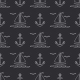 Flat line monochrome vector seamless pattern ocean boat with sail, anchor. Cartoon retro style. Regatta. Seagull. Summer Royalty Free Stock Photography