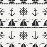 Flat line monochrome vector seamless pattern ocean boat, sail, steering wheel, anchor. Cartoon retro style. Regatta. Seagull. Summer vacation. Yacht Royalty Free Stock Images