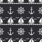 Flat line monochrome vector seamless pattern ocean boat, sail, steering wheel, anchor. Cartoon retro style. Regatta. Seagull. Summer vacation. Yacht Stock Image