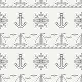 Flat line monochrome vector seamless pattern ocean boat, sail, steering wheel, anchor. Cartoon retro style. Regatta. Seagull. Summer vacation. Yacht Royalty Free Stock Image