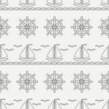 Flat line monochrome vector seamless pattern ocean boat, sail, steering wheel. Cartoon retro style. Regatta. Seagull. Summer vacation. Yacht. Nautical Royalty Free Stock Images