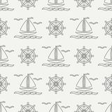 Flat line monochrome vector seamless pattern ocean boat, sail, steering wheel. Cartoon retro style. Regatta. Seagull. Summer vacation. Yacht. Nautical Royalty Free Stock Photos