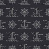 Flat line monochrome vector seamless pattern ocean boat, sail, steering wheel. Cartoon retro style. Regatta. Seagull. Summer vacation. Yacht. Nautical Stock Image