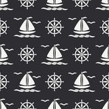 Flat line monochrome vector seamless pattern ocean boat, sail, steering wheel. Cartoon retro style. Regatta. Seagull. Summer vacation. Yacht. Nautical Royalty Free Stock Photography