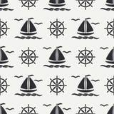 Flat line monochrome vector seamless pattern ocean boat, sail, steering wheel. Cartoon retro style. Regatta. Seagull. Summer vacation. Yacht. Nautical Stock Photography