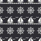 Flat line monochrome vector seamless pattern ocean boat, sail, steering wheel. Cartoon retro style. Regatta. Seagull. Summer vacation. Yacht. Nautical Stock Photo