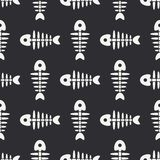 Flat line monochrome vector seamless pattern ocean fish bone, skeleton. Simplified retro. Childish cartoon style. Skull. Sea doodle art. Background Stock Photography