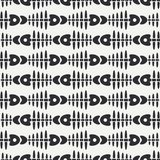 Flat line monochrome vector seamless pattern ocean fish bone, skeleton. Simplified retro. Childish cartoon style. Skull. Sea doodle art. Background Royalty Free Stock Photography