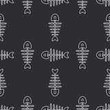 Flat line monochrome vector seamless pattern ocean fish bone, skeleton. Simplified retro. Childish cartoon style. Skull. Sea doodle art. Background Royalty Free Stock Photo