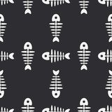 Flat line monochrome vector seamless pattern ocean fish bone, skeleton. Simplified retro. Childish cartoon style. Skull. Sea doodle art. Background Royalty Free Stock Image