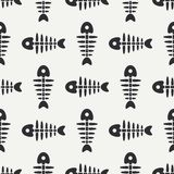 Flat line monochrome vector seamless pattern ocean fish bone, skeleton. Simplified retro. Childish cartoon style. Skull. Sea doodle art. Background Stock Photo