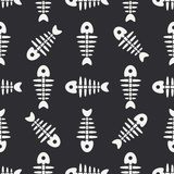 Flat line monochrome vector seamless pattern ocean fish bone, skeleton. Simplified retro. Childish cartoon style. Skull. Sea doodle art. Background Royalty Free Stock Images
