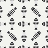 Flat line monochrome vector seamless pattern ocean fish bone, skeleton. Simplified retro. Childish cartoon style. Skull. Sea doodle art. Background Stock Images