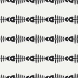 Flat line monochrome vector seamless pattern ocean fish bone, skeleton. Simplified retro. Childish cartoon style. Skull. Sea doodle art. Background Stock Photos