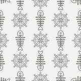 Flat line monochrome vector seamless pattern ocean fish bone, skeleton with steering wheel. Retro cartoon style. Skull Royalty Free Stock Photos