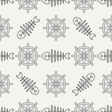 Flat line monochrome vector seamless pattern ocean fish bone, skeleton with steering wheel. Retro cartoon style. Skull. Nautical doodle art. Background Royalty Free Stock Images
