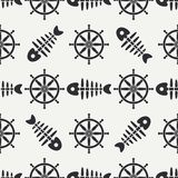 Flat line monochrome vector seamless pattern ocean fish bone, skeleton with steering wheel. Retro cartoon style. Skull. Nautical doodle art. Background Royalty Free Stock Photography