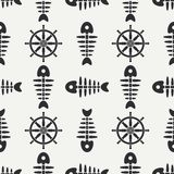 Flat line monochrome vector seamless pattern ocean fish bone, skeleton with steering wheel. Retro cartoon style. Skull. Nautical doodle art. Background Royalty Free Stock Photos