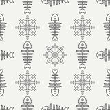 Flat line monochrome vector seamless pattern ocean fish bone, skeleton with steering wheel. Retro cartoon style. Skull. Nautical doodle art. Background Stock Photography