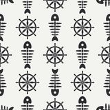 Flat line monochrome vector seamless pattern ocean fish bone, skeleton with steering wheel. Retro cartoon style. Skull. Nautical doodle art. Background Royalty Free Stock Photo