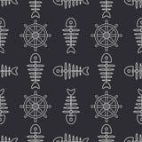 Flat line monochrome vector seamless pattern ocean fish bone, skeleton with steering wheel. Retro cartoon style. Skull. Nautical doodle art. Background Royalty Free Stock Image