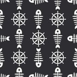 Flat line monochrome vector seamless pattern ocean fish bone, skeleton with steering wheel. Retro cartoon style. Skull. Nautical doodle art. Background Stock Images