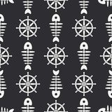 Flat line monochrome vector seamless pattern ocean fish bone, skeleton with steering wheel. Retro cartoon style. Skull. Nautical doodle art. Background Stock Photos