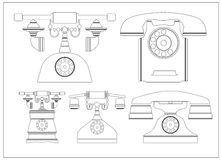 Flat line old phones  on white background Stock Images
