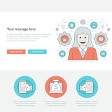 Flat line Personal Manager Concept Vector illustration. Royalty Free Stock Image