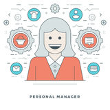 Flat line Personal Manager and Support. Vector illustration. Royalty Free Stock Image