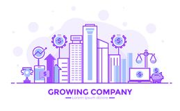 Flat Line Purple color Modern Concept Illustration - Growing Com. Thin line smooth purple and blue flat design banner of Growing Company for website and mobile Stock Photos