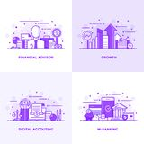 Flat line Purple Designed Concepts 5. Modern Flat Purple color line designed concepts icons for Financial Advisor, Growth, Digital Accouting and M Banking. Can Royalty Free Stock Photography