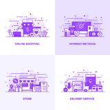 Flat line Purple Designed Concepts 14. Modern Flat Purple color line designed concepts icons for Online Shopping, Payment Methods, Store and Delivery Service Stock Illustration