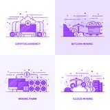 Flat line Purple Designed Concepts 17. Modern Flat Purple color line designed concepts icons for Cryptocurrency, Bitcoin Mining, Mining Farm and Cloud Mining Royalty Free Stock Images