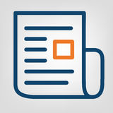 Flat line report icon. Laconic blue and orange lines on gray background. Isolated vector object.  Stock Photography