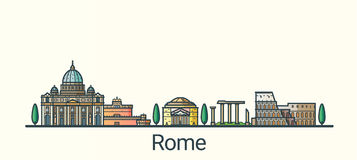 Flat line Rome banner. Banner of Rome city in flat line trendy style. All buildings separated and customizable. Line art Royalty Free Stock Photo