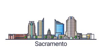Flat line Sacramento banner. Banner of Sacramento city in flat line trendy style. Sacramento city line art. All buildings separated and customizable Royalty Free Stock Image