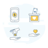 Flat line set icon concept for Nonprofit Organizations, Donation or Charity Centre stock illustration