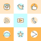 Flat line set icons designs of camera, like, bird, phone, website, share. Represents approval, vote, saying yes Stock Images