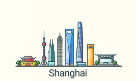 Flat line Shanghai banner. Banner of Shanghai city in flat line trendy style. All buildings separated and customizable. Line art vector illustration