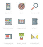 Flat line simple icons set. Thin linear stroke Royalty Free Stock Photos