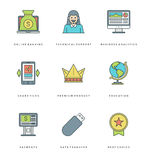 Flat line simple icons set. Thin linear stroke Stock Image