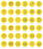 Flat line simple icons set. Thin linear stroke Royalty Free Stock Images
