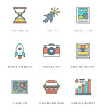 Flat line simple icons set. Thin linear stroke Stock Images