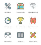 Flat line simple icons set. Thin linear stroke Royalty Free Stock Image