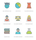 Flat line simple icons set. Thin linear stroke vector Essentials objects symbols Royalty Free Stock Photography